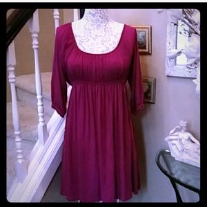 Fuscia empire waist peasant dress